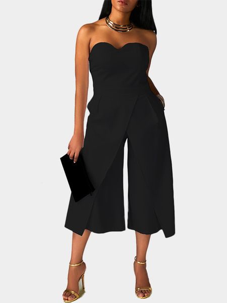 Yoins Black Strapless Zip Back Jumpsuit