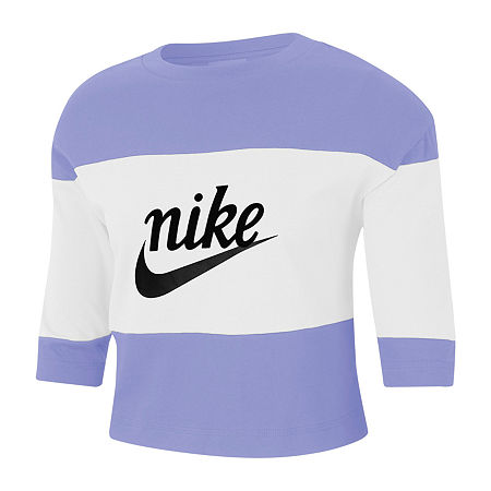 Nike Womens Crew Neck 3/4 Sleeve Crop Top, Large , Blue