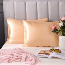 1pair Plain Satin Pillowcase