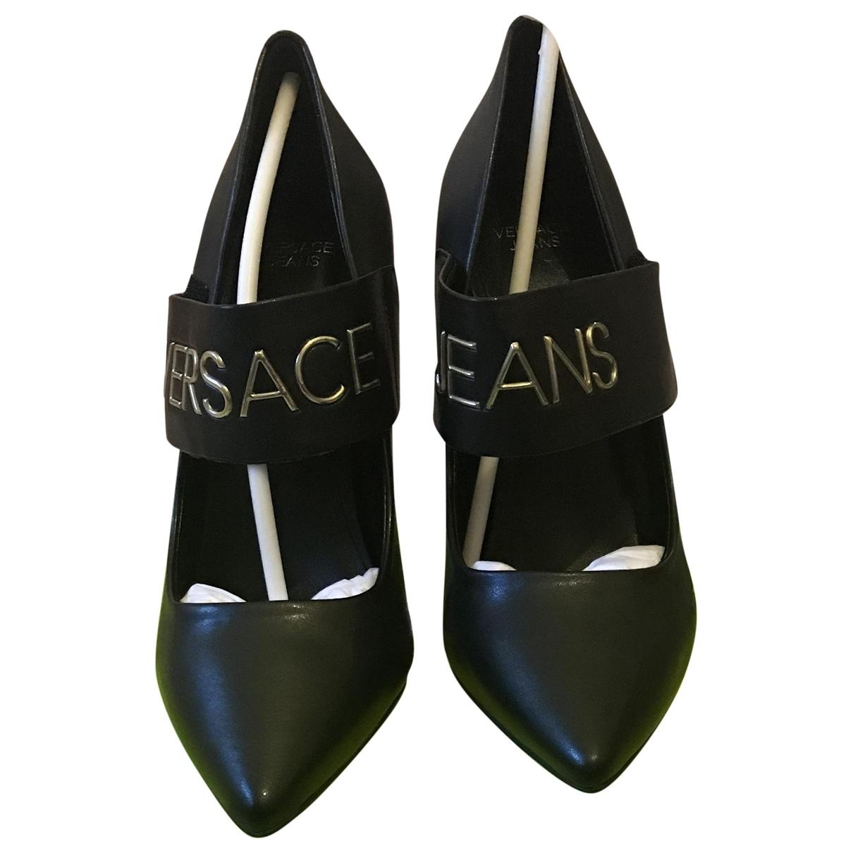 Versace Jeans \N Black Leather Heels for Women 38 EU