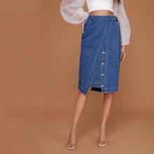 Button Front Wrap Belted Denim Skirt