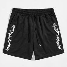 Guys Graphic Print Drawstring Shorts