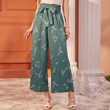 Hose mit Pflanzen Muster, Papiertasche Taille und breitem Beinschnitt