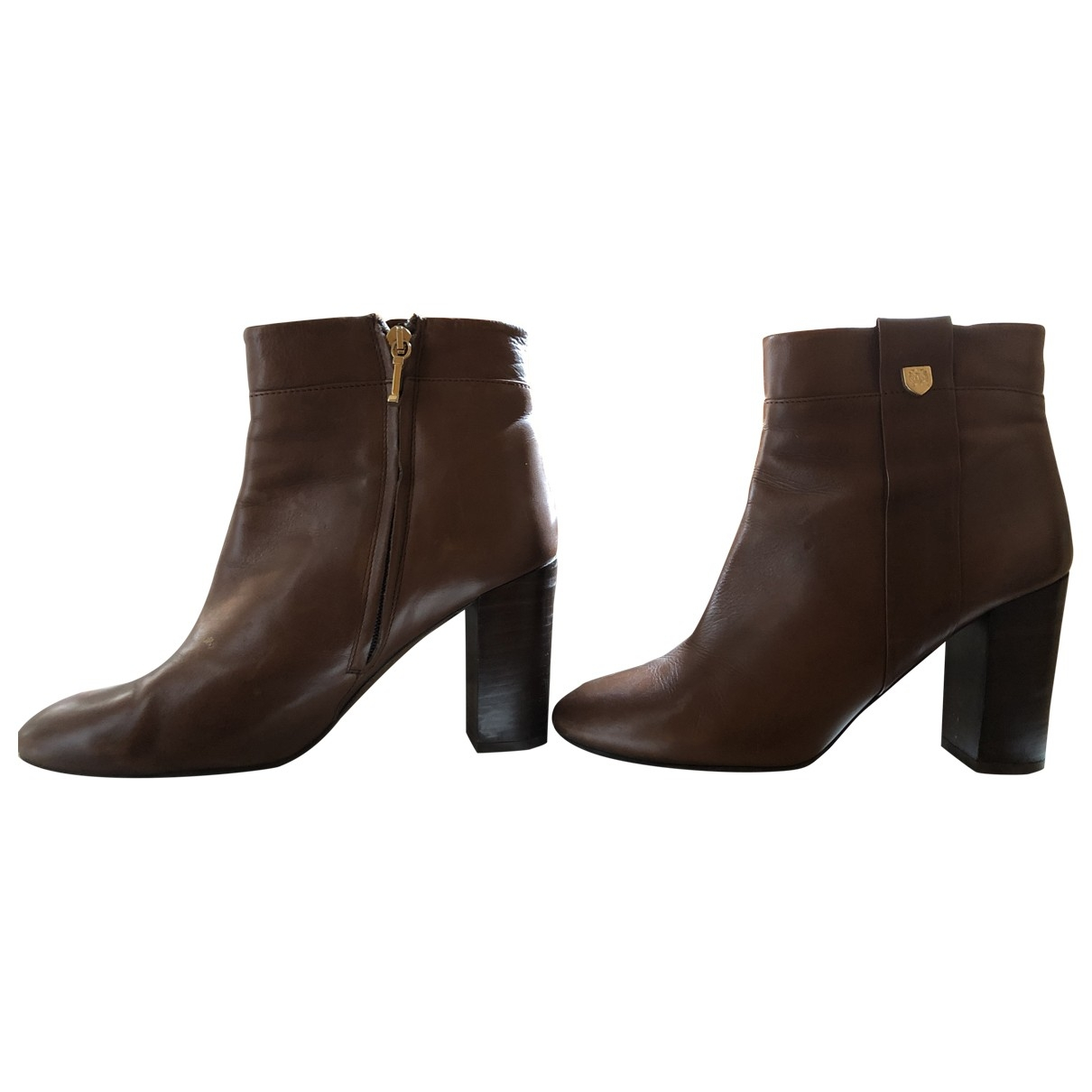 Massimo Dutti \N Brown Leather Ankle boots for Women 40 EU