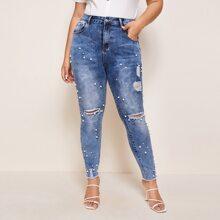 Plus Raw Hem Ripped Pearl Beaded Jeans