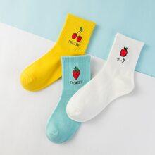 3 Paare Socken mit Obst Muster