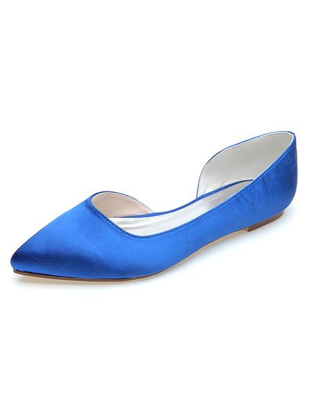 Milanoo Zapatos de novia de saten Zapatos de Fiesta Morado Zapatos de puntera puntiaguada Zapatos de boda 0.5cm