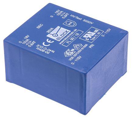 Block 18V ac 2 Output Through Hole PCB Transformer, 30VA