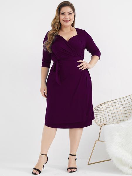 Yoins Plus Size Wrap Design V-neck Half Sleeves Dress