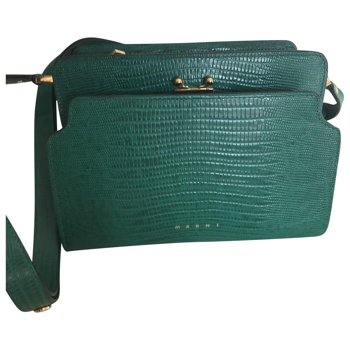 Marni Trunk Handtasche in  Gruen Leder