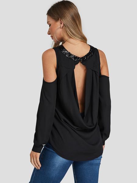 Yoins Black Sequins Embellished Cold Shoulder Backless Blouse