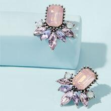 Gemstone Design Stud Earrings 1pair