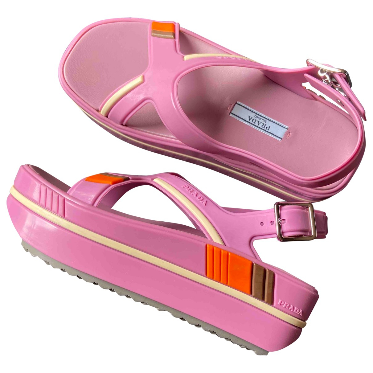 Prada - Sandales   pour femme en cuir - rose