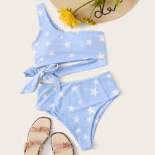 Bikini Badeanzug mit Stern Muster, seitlichem Band und einer Schulter frei