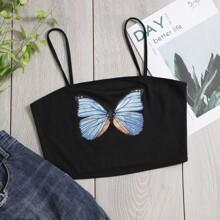 Crop Cami Top mit Schmetterling Muster