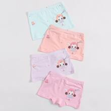 4pcs Toddler Girls Cartoon And Japanese Letter Graphic Underwear