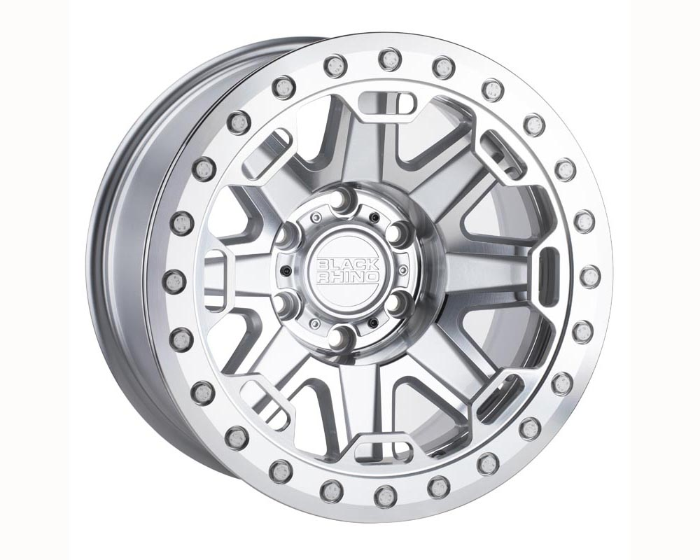 Black Rhino Rift Beadlock Wheel 17x8.5 8x170 -38 Silver w/Mirror Face and Stainless Bolts
