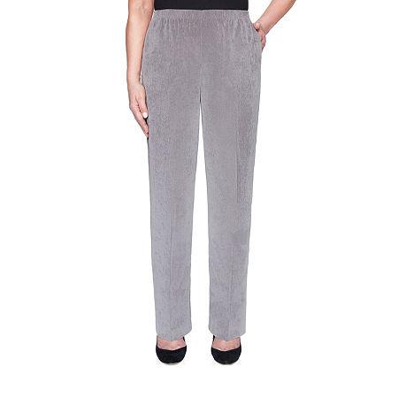 Alfred Dunner Classics Womens Straight Corduroy Pant, 16 Petite Short , Gray
