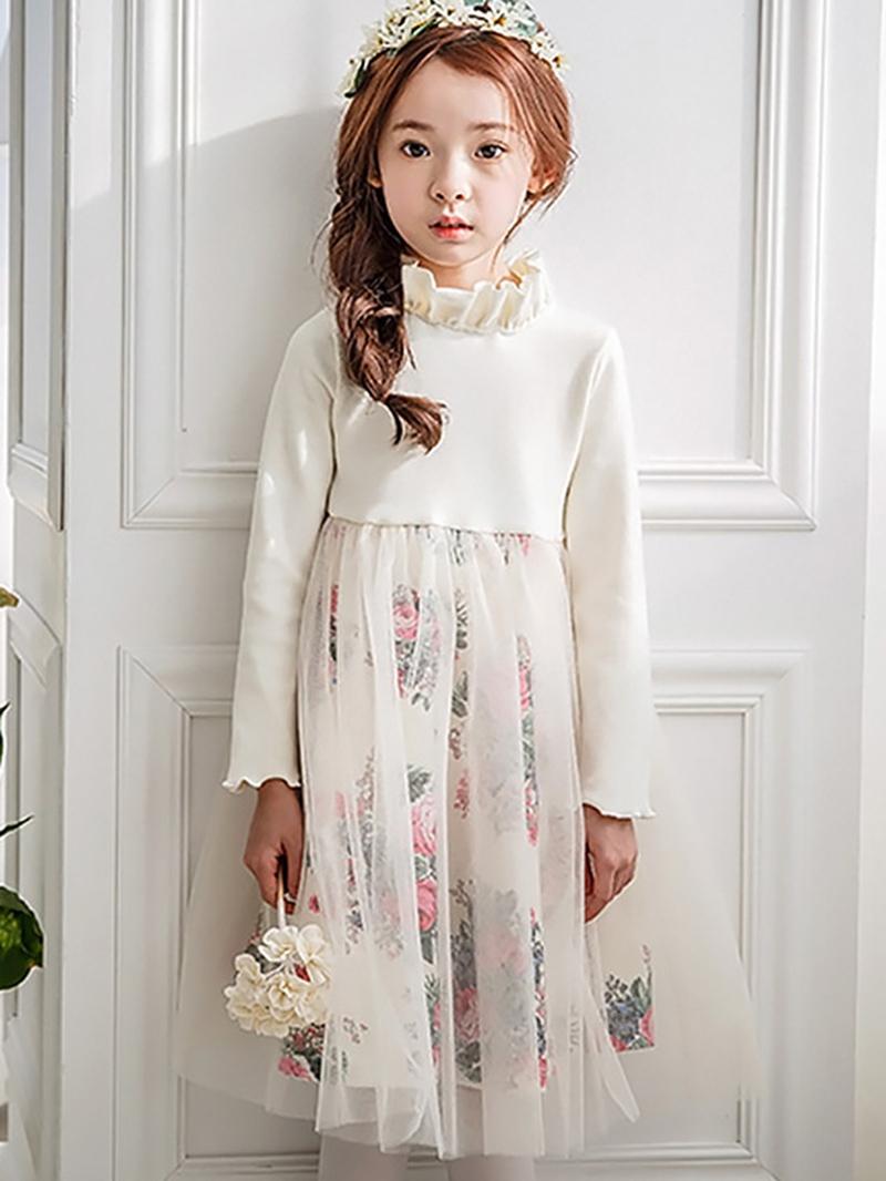 Ericdress Floral Patchwork Stand Collar Girls Dress