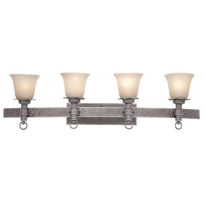 Americana 4204CI/1356 4-Light Bath in Country Iron with Travertine Standard Glass