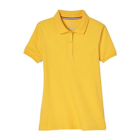 French Toast Little & Big Girls Short Sleeve Polo Shirt, Medium , Yellow