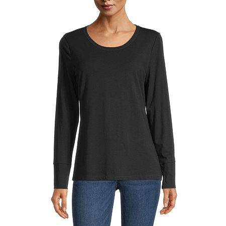 a.n.a-Womens Scoop Neck Long Sleeve T-Shirt, Small , Black