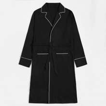 Men Contrast Piping Belted Dual Pocket Robe