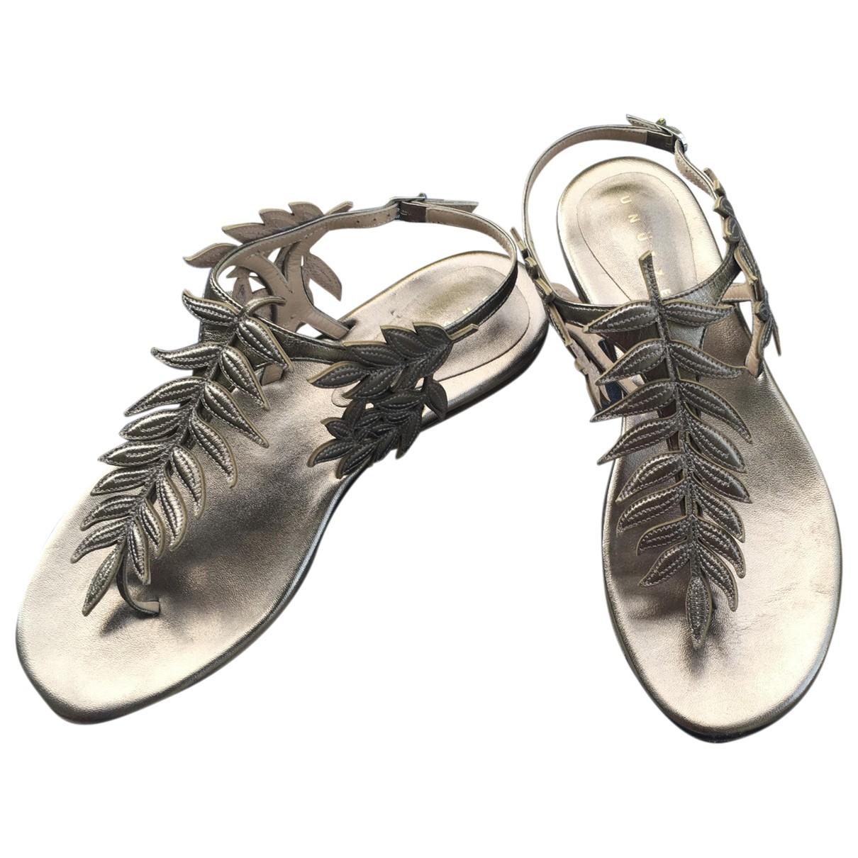 Unutzer - Sandales   pour femme en cuir - dore