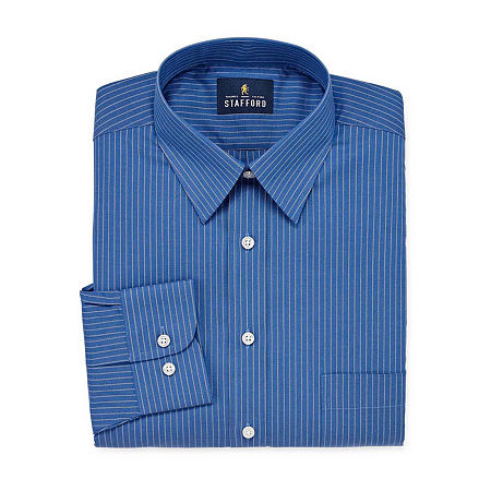 Stafford Mens Wrinkle Free Stain Resistant Stretch Super Dress Shirt, 17.5 36-37, Blue