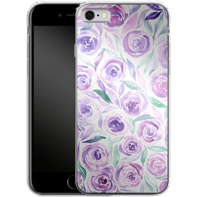 Apple iPhone 6s Silikon Handyhuelle - Purple Rose Floral von Becky Starsmore