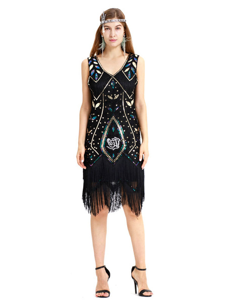 Milanoo 1920s Fashion Style Outfiits Flapper Dress Great Gatsby Sequined Fringe V Neck Two Tone Women's Retro 20s Party Dress