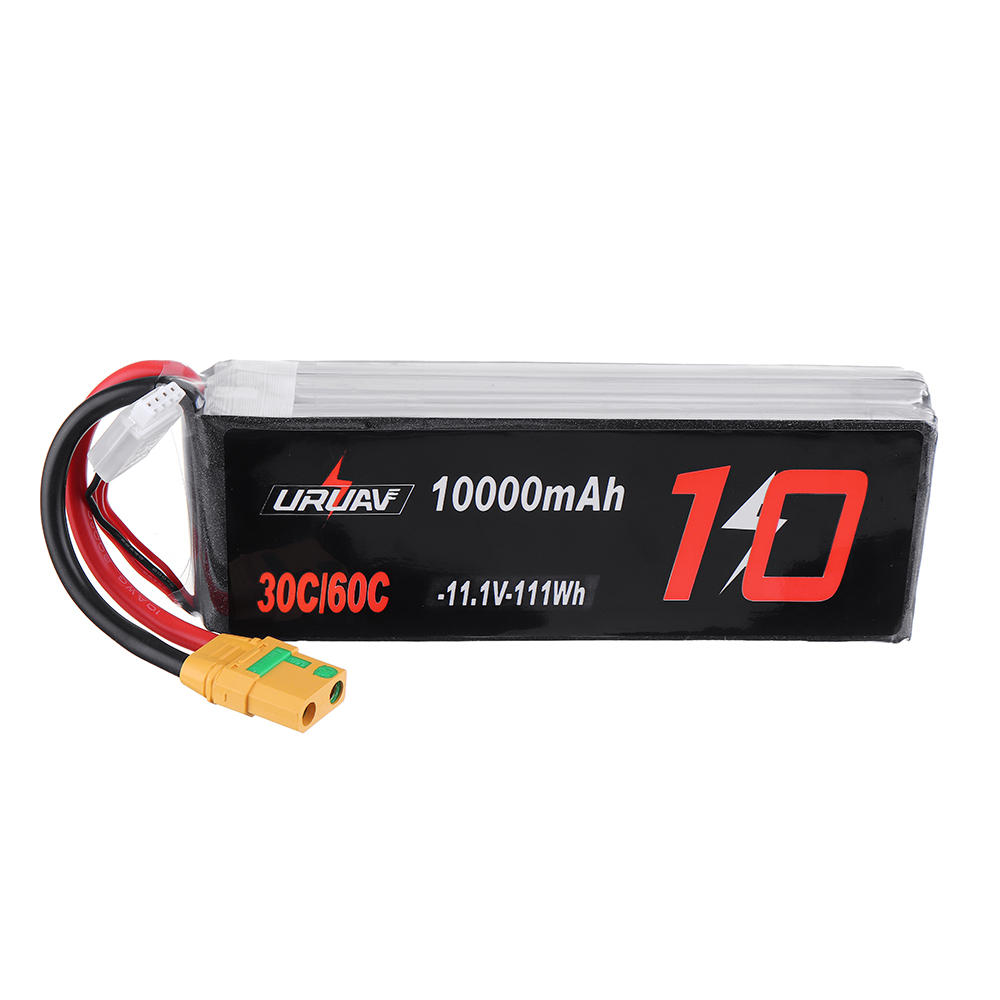 URUAV 11.1V 10000mAh 30/60C 3S Lipo Battery XT90 Plug for FPV RC Quadcopter Agriculture Drone