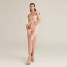 Satin Kleid mit Falten auf Schulter und Wickel Design am Saum