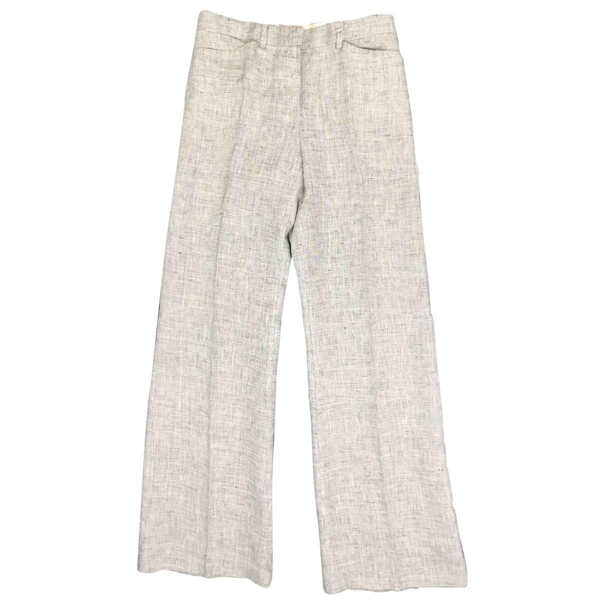 Emporio Armani \N Grey Linen Trousers for Women 38 IT