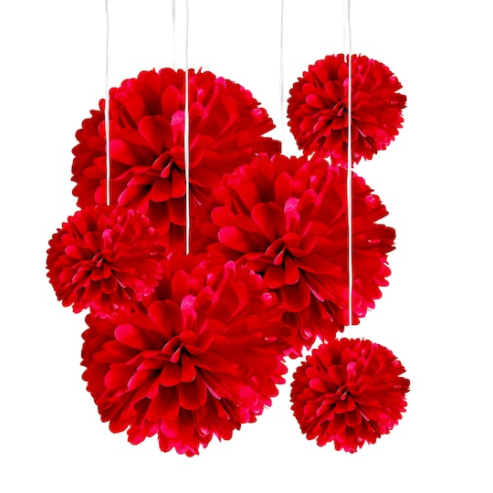 Red Paper Pom Poms By Celebrate It™ | Michaels®