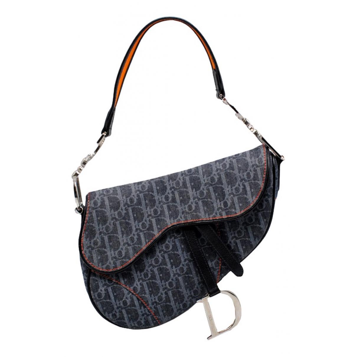 Dior Saddle Handtasche in  Grau Leinen