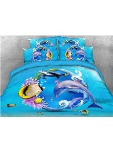 Dolphin Turtle and Tropical Fish Printed 4-Piece 3D Bedding Sets/Duvet Covers