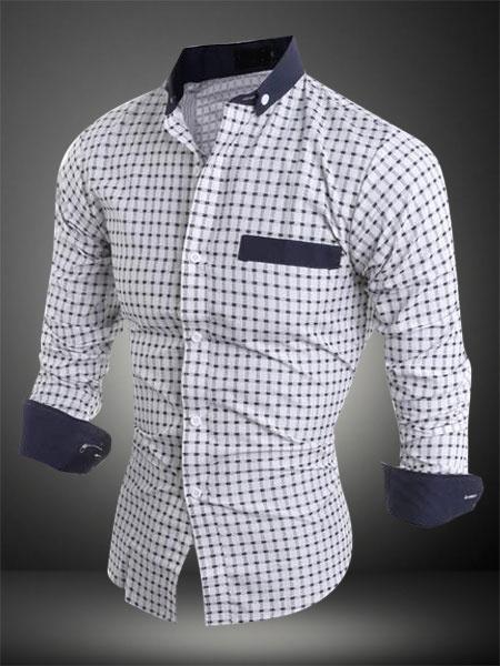 Milanoo Casual Camiseta de hombre 2020 blanca escote cuadrado estampado de lunares bloqueo de color manga larga