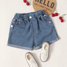 Toddler Girls Slant Pockets Rolled Hem Denim Shorts