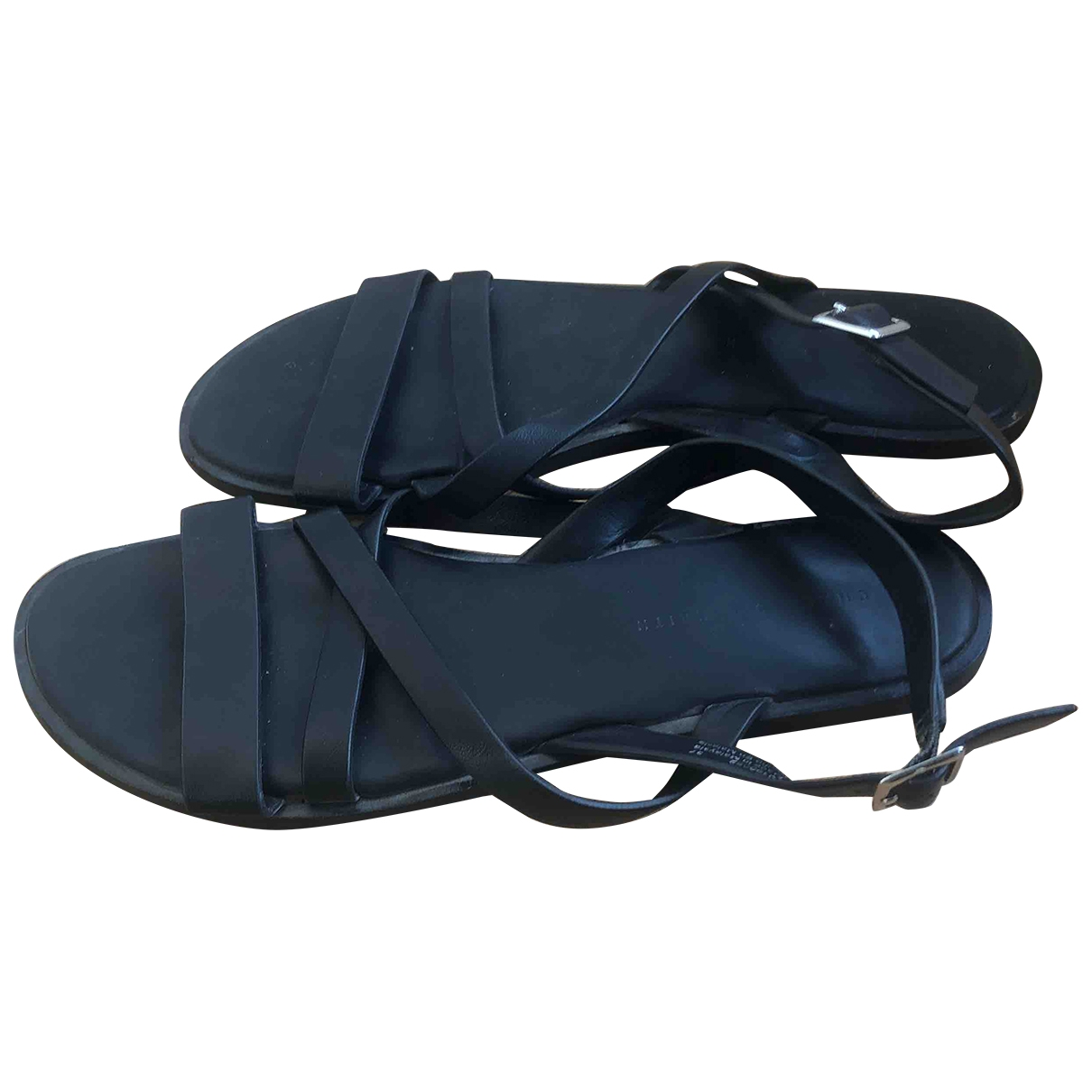 Non Signé / Unsigned \N Black Leather Sandals for Women 37 EU