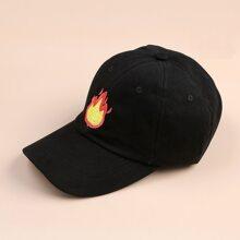 Flame Embroidery Baseball Cap