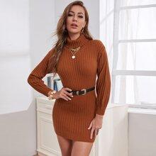 Turtleneck Rib-knit Sweater Dress Without Belt