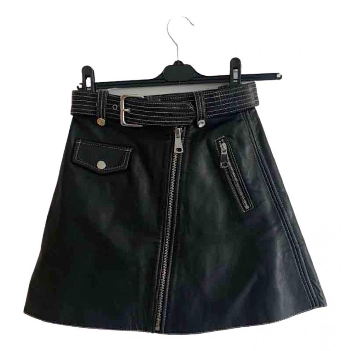 Maje - Jupe   pour femme en cuir - noir