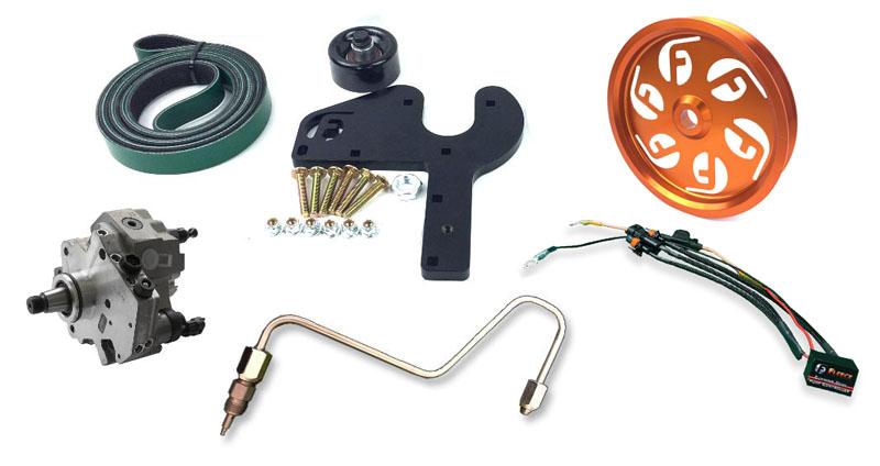 Fleece Performance FPE-DPK-67-36-10-OG 2013-2018 6.7L Cummins Dual Pump Kit W/ PowerFlo 750 Orange Pulley