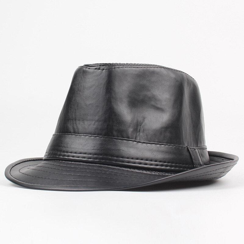 Men Winter Vintage PU Leather Thin Jazz Cap Curved Brim Jazz Cap British Style Warm Fedora Hat