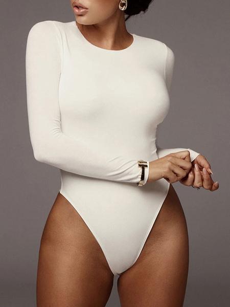 Milanoo Body de manga larga Cuello joya blanco Poliester sexy Top de mujer
