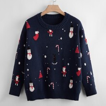 Plus Christmas Pattern Drop Shoulder Sweater