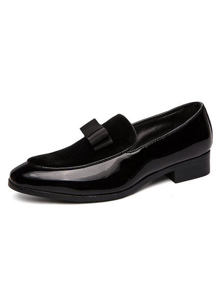 Milanoo Mens Loafers Balck Shoes Comfy Suede Leather Bows Casual Shoes