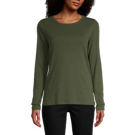 St. John's Bay-Womens Long Sleeve T-Shirt, Petite Xx-large , Green