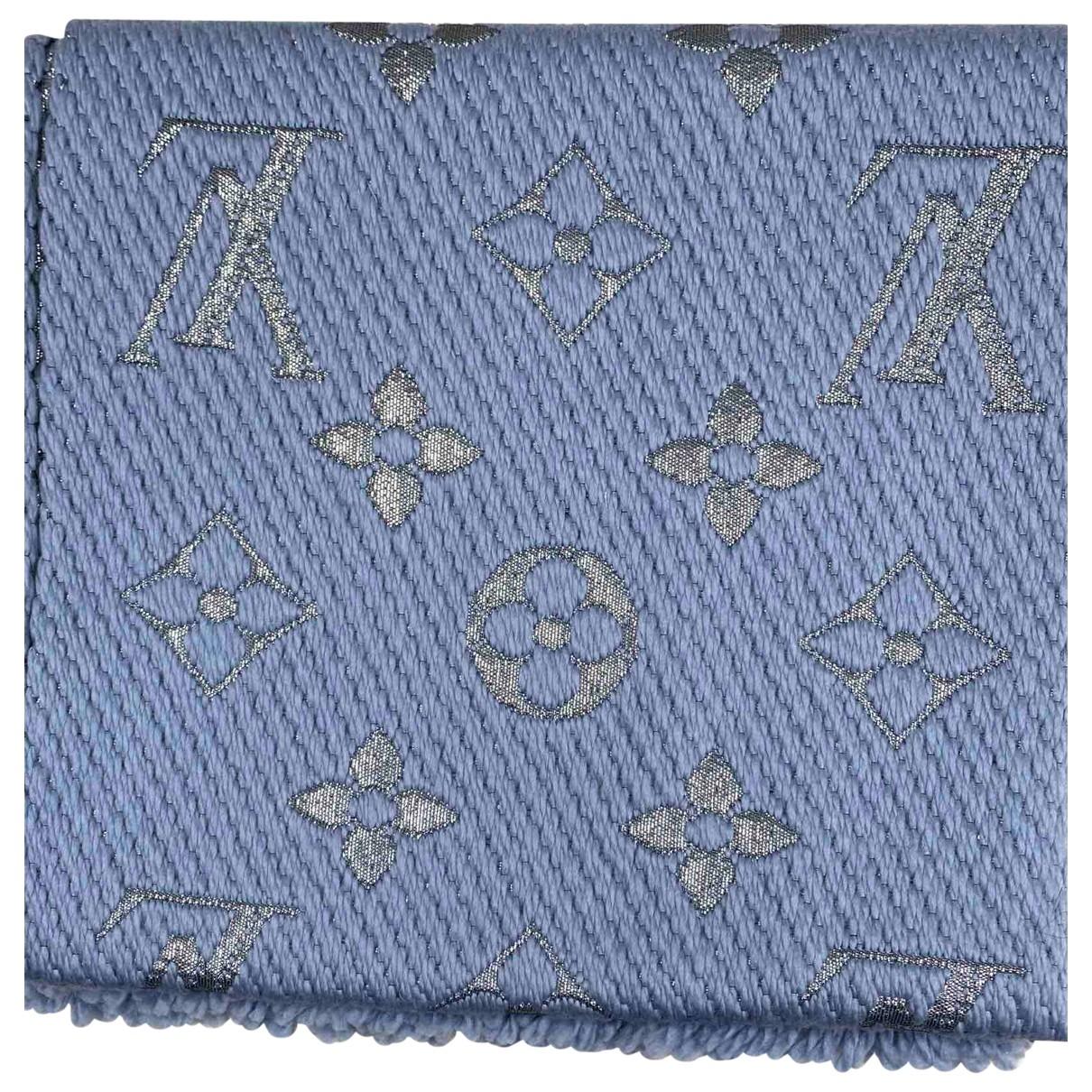 Louis Vuitton - Foulard Logomania pour femme en laine - bleu